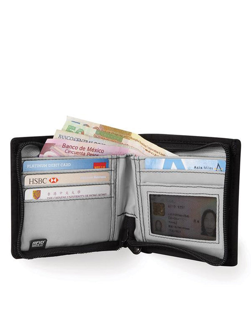 Pacsafe RFIDsafe Z100 Bi-fold wallet - black inside pockets