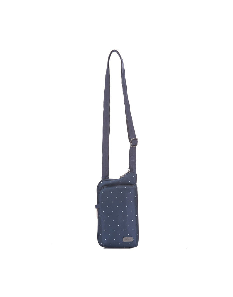 Pacsafe daysafe anti-theft tech navy colour crossbody bag front view