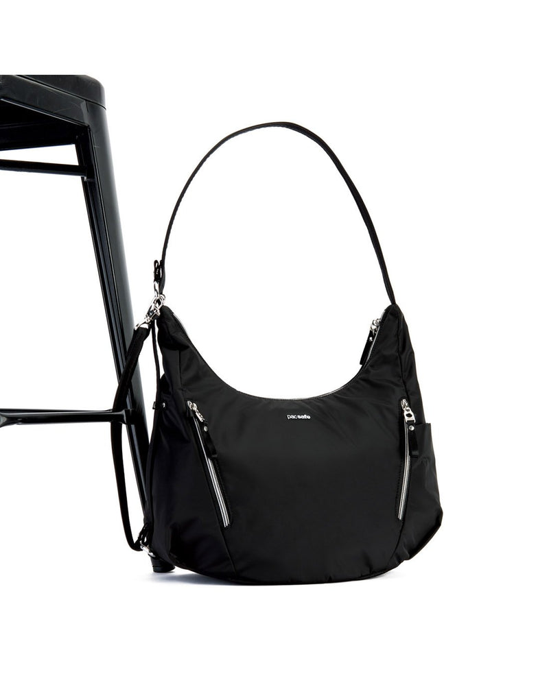 Pacsafe stylesafe anti-theft convertible black colour crossbody bag detachable strap