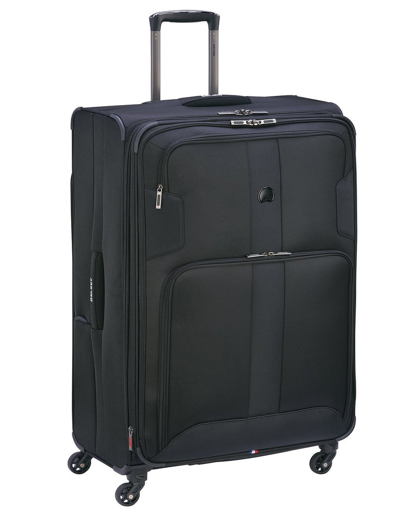 "Delsey volume max 29"" expandable spinner black colour luggage bag"