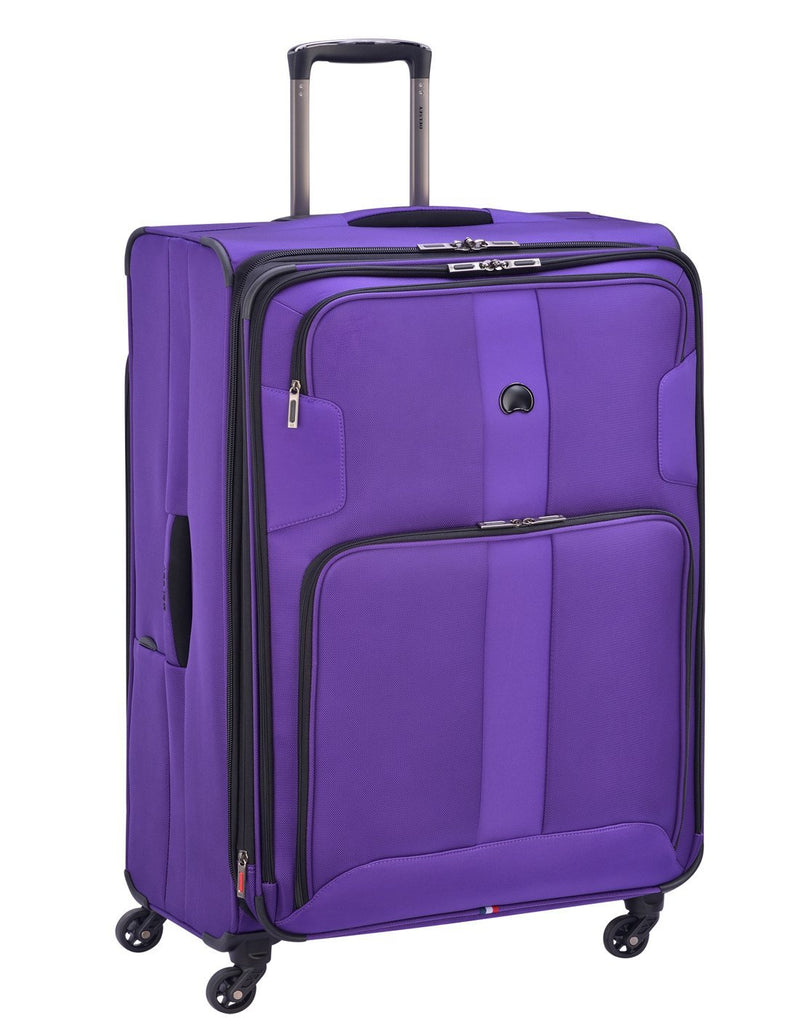 "Delsey volume max 29"" expandable spinner purple colour luggage bag"