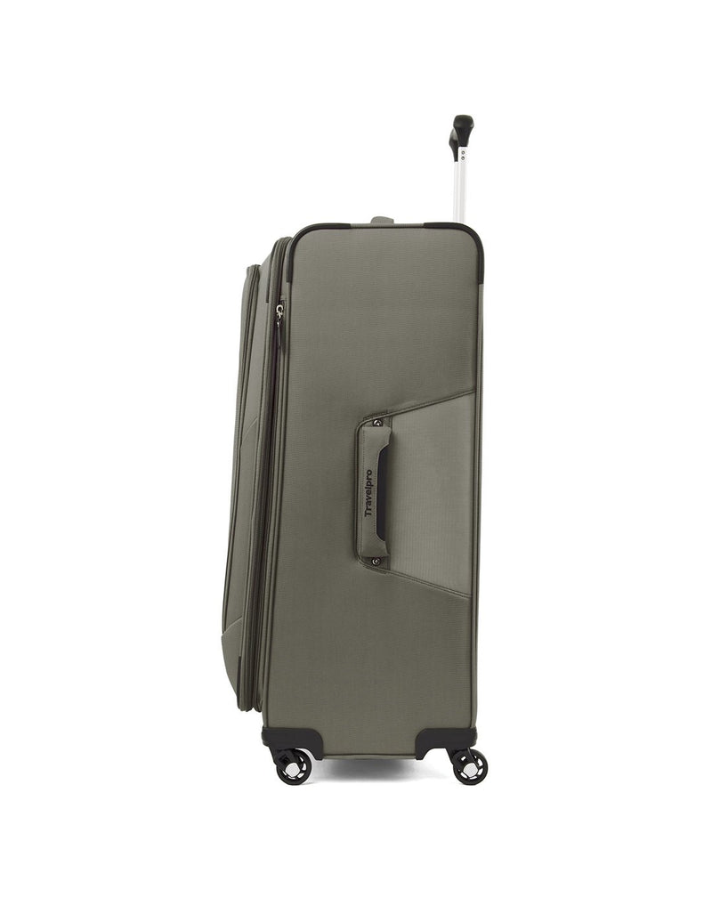 "Travelpro maxlite 5 29"" exp spinner slate green colour luggage bag side view"