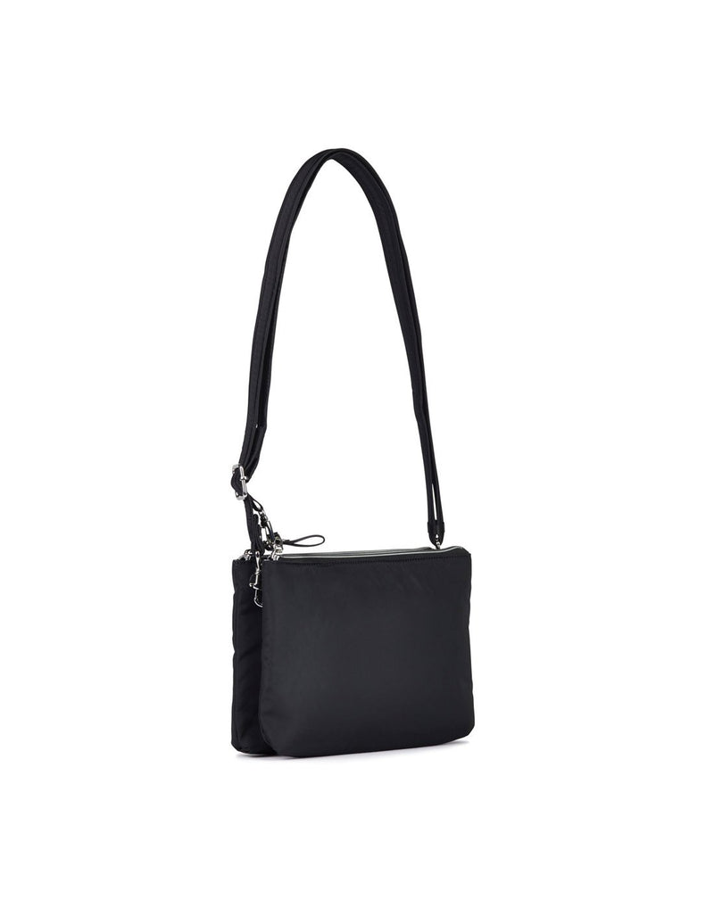 Pacsafe stylesafe anti-theft double zip black colour crossbody bag back view