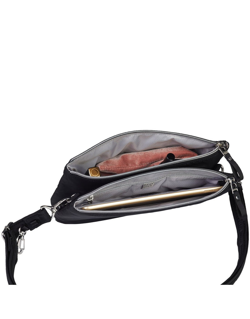 Pacsafe stylesafe anti-theft double zip black colour crossbody bag interior view