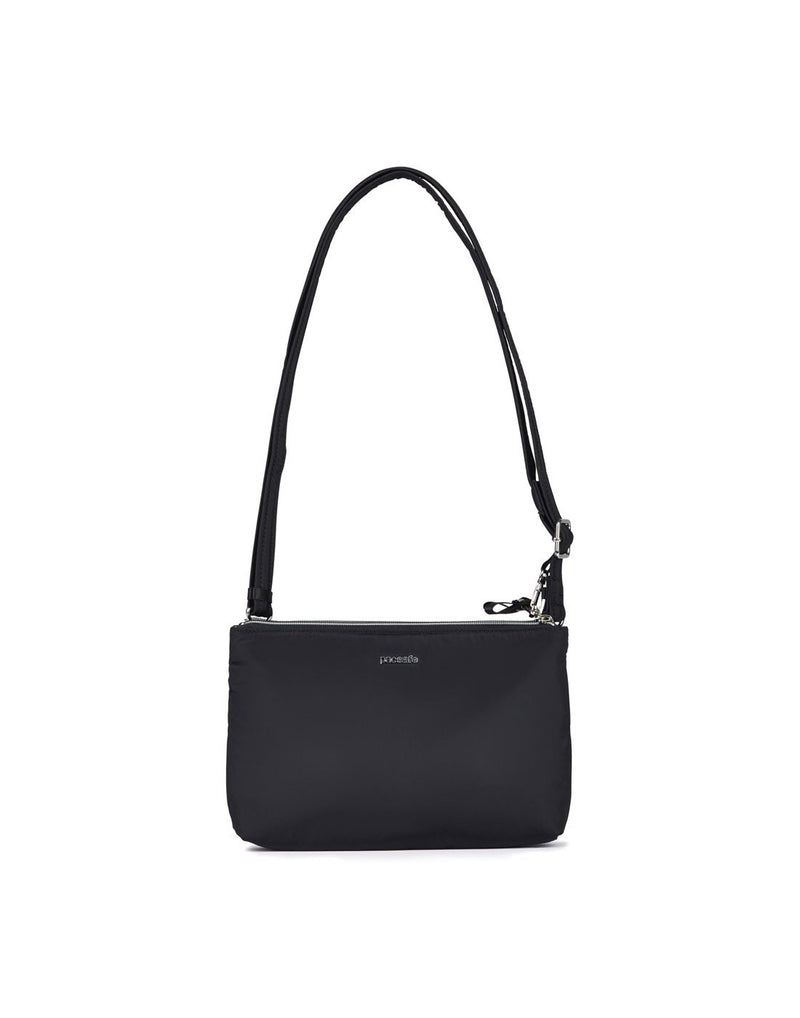 Pacsafe stylesafe anti-theft double zip black colour crossbody bag front view
