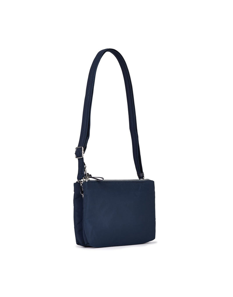 Pacsafe stylesafe anti-theft double zip navy colour crossbody bag back view