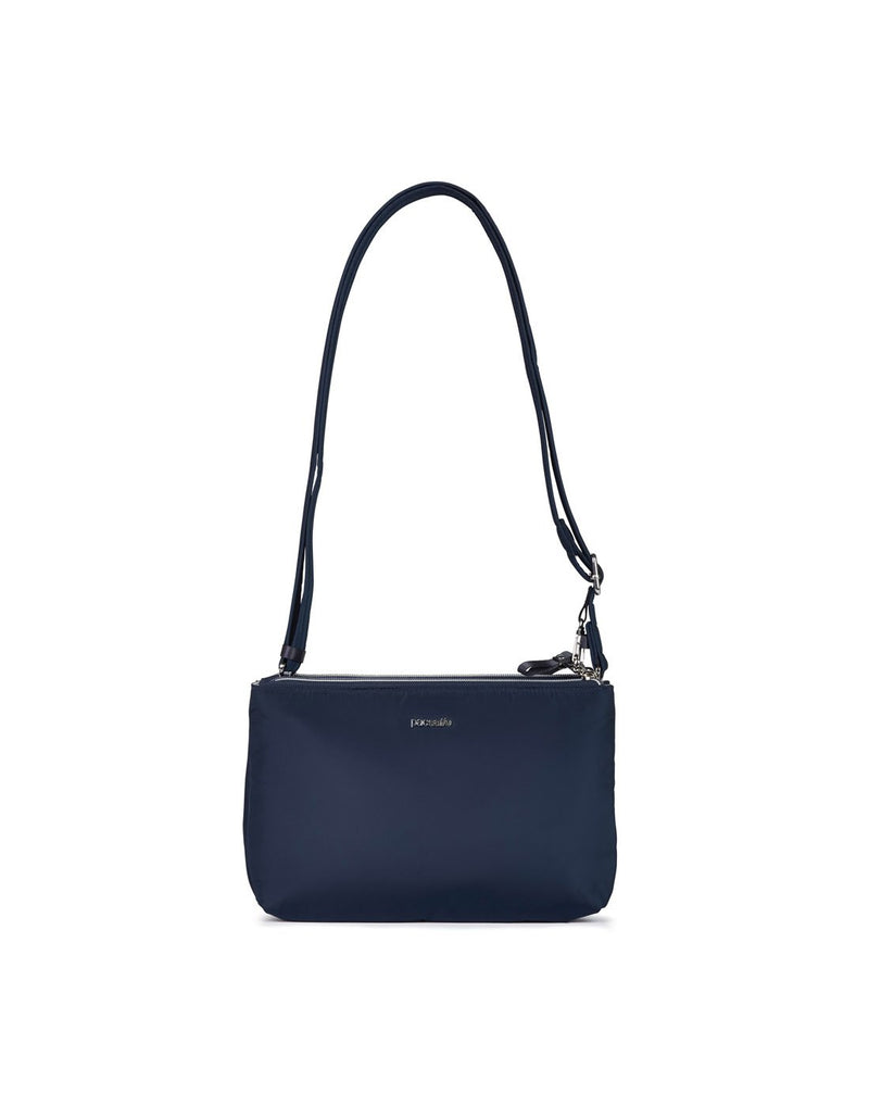 Pacsafe stylesafe anti-theft double zip navy colour crossbody bag front view