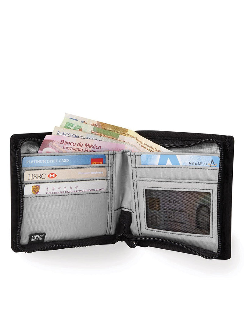Pacsafe RFIDsafe Z100 Bi-fold wallet - black interior view