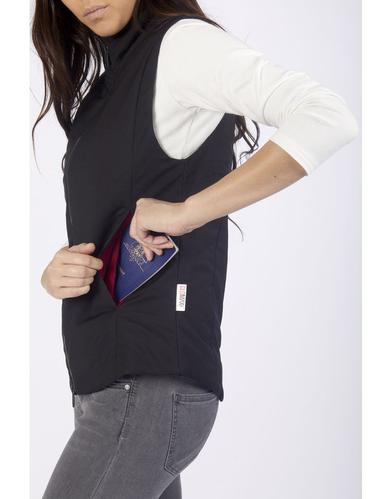 Women wearing pacsafe transit women's insulated vest blue side pocket