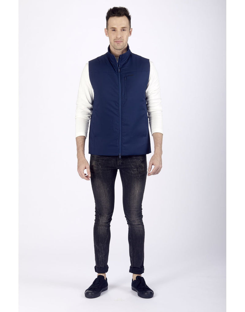 Men wearing pacsafe transit men's insulated vest - blue front view