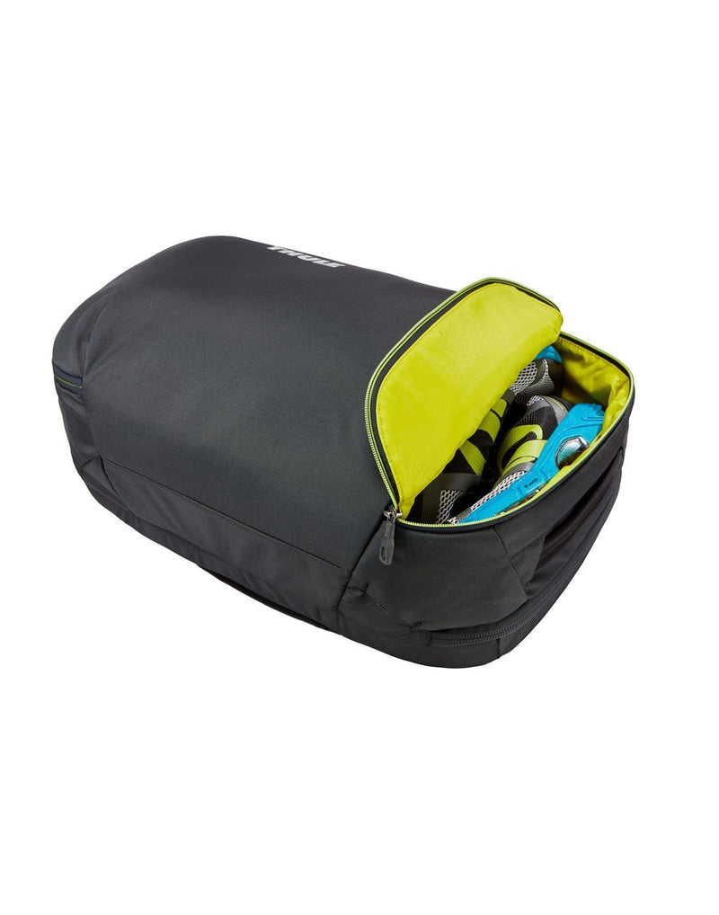 Thule subterra carry-on 40L dark shadow colour bag multi-purpose compartment corner view