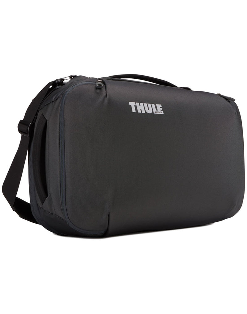 Thule subterra carry-on 40L dark shadow colour bag using as shoulder bag hero shot