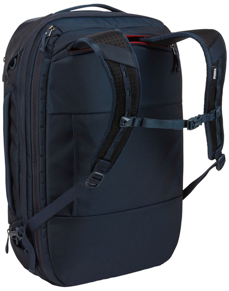 Thule subterra carry-on 40L dark shadow colourbag using as backpack back view