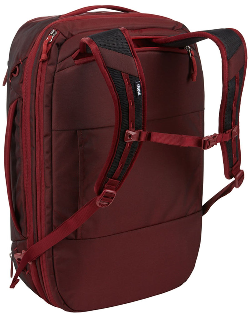 Thule subterra carry-on 40L ember colour bag using as backpack back view