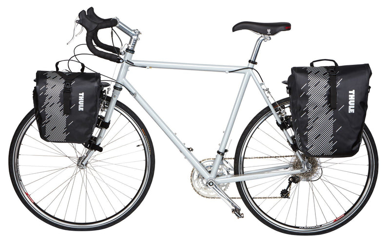 Thule shield pannier bike bags attached on bike