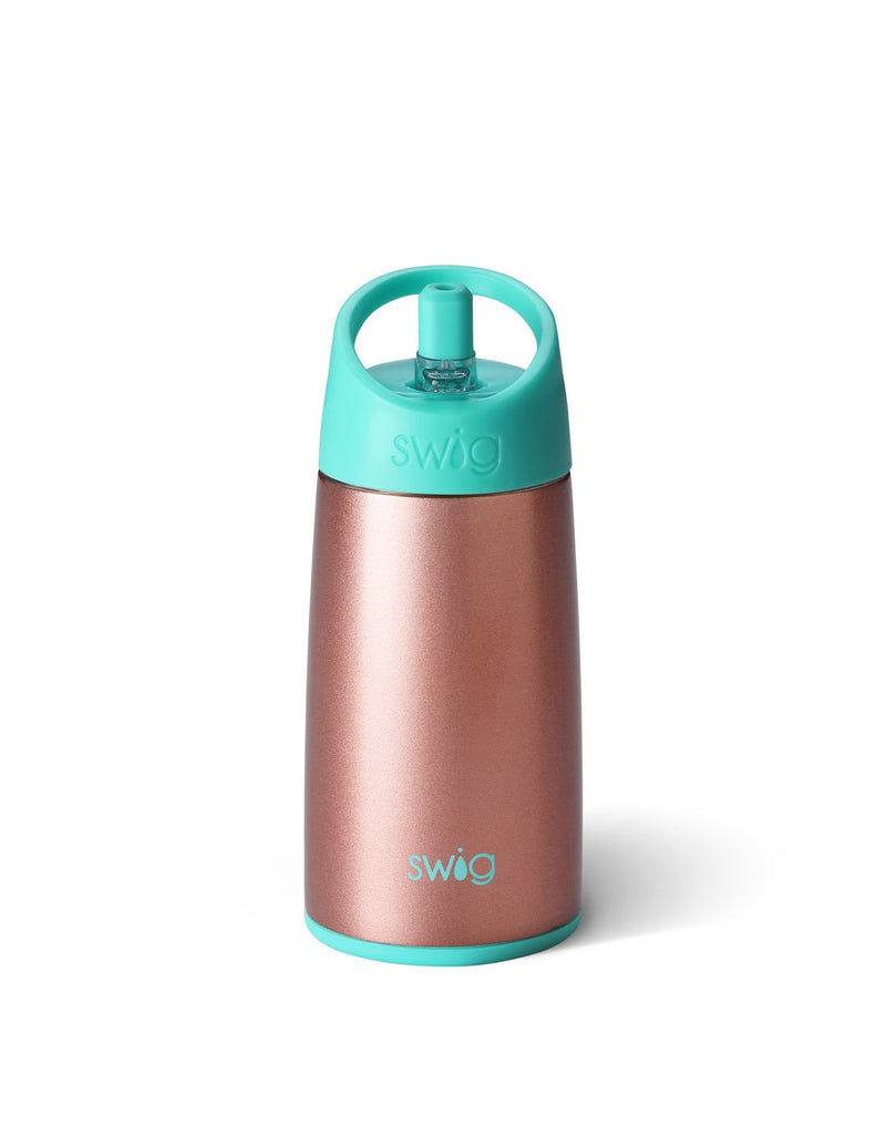 Swig kids 12 oz bottle - rose gold back view