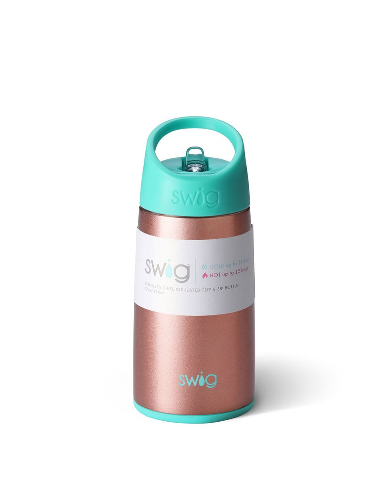 Swig kids 12 oz bottle - rose gold front view