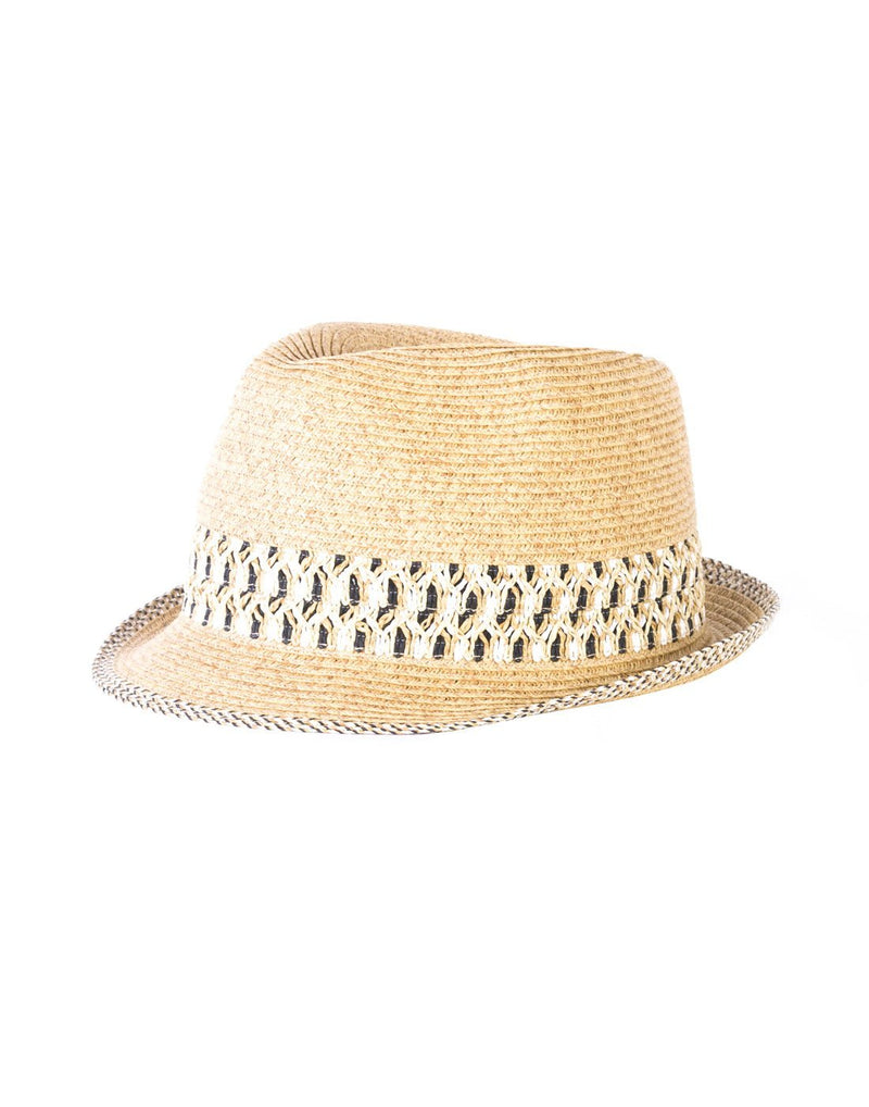 Small paper straw hat black/white colour front view