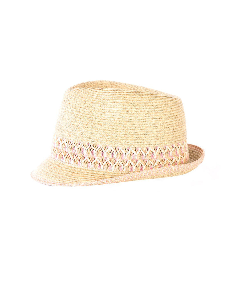 Small paper straw hat coral colour front view
