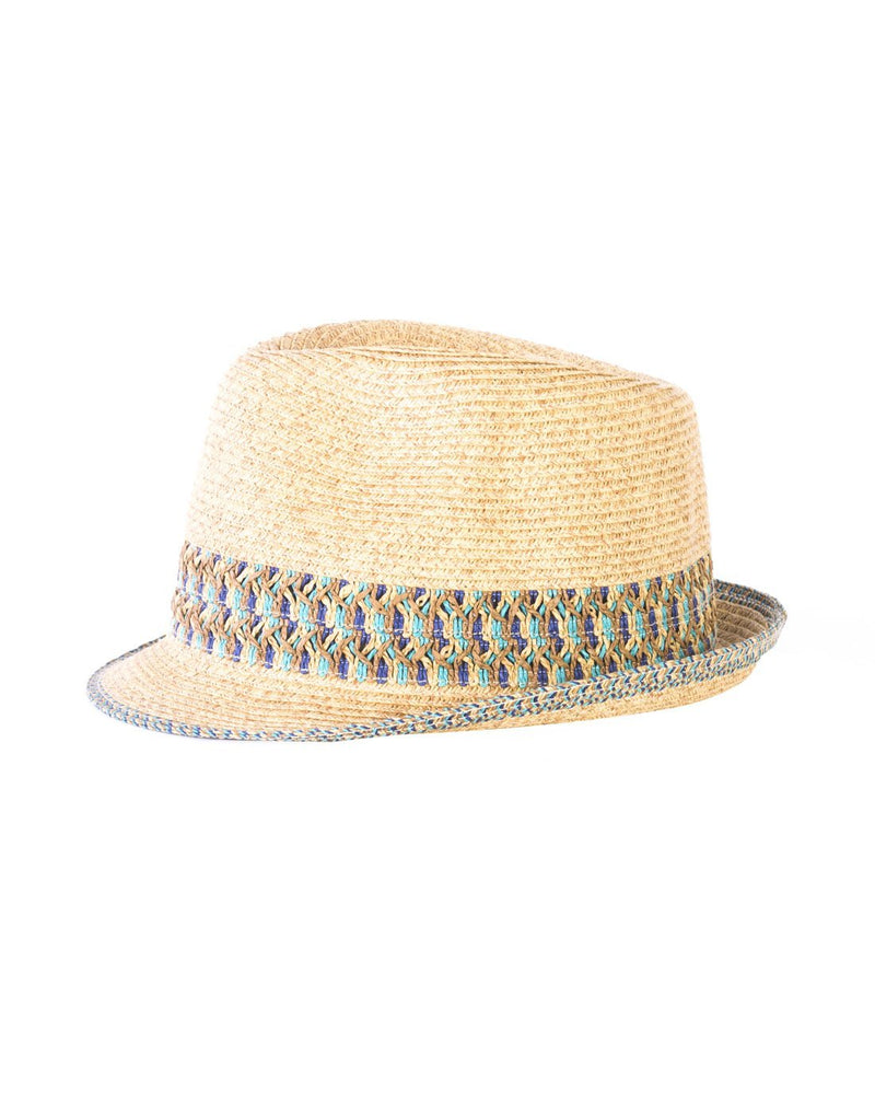 Small paper straw hat blue colour front view