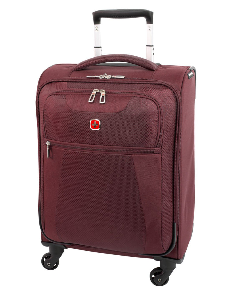Swiss gear excursion carry-on spinner maroon colour luggage bag front view