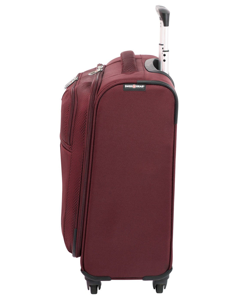 Swiss gear excursion carry-on spinner maroon colour luggage bag left side view