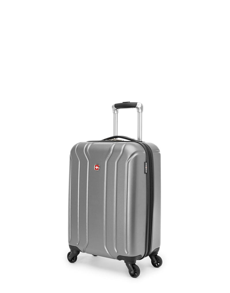 Swiss gear carry-on spinner with cup holder - silver colour luggage bag corner view