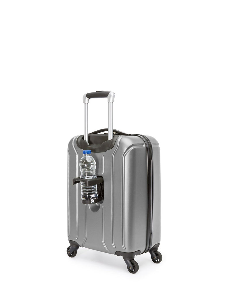 Swiss gear carry-on spinner with cup holder - silver colour luggage bag back view
