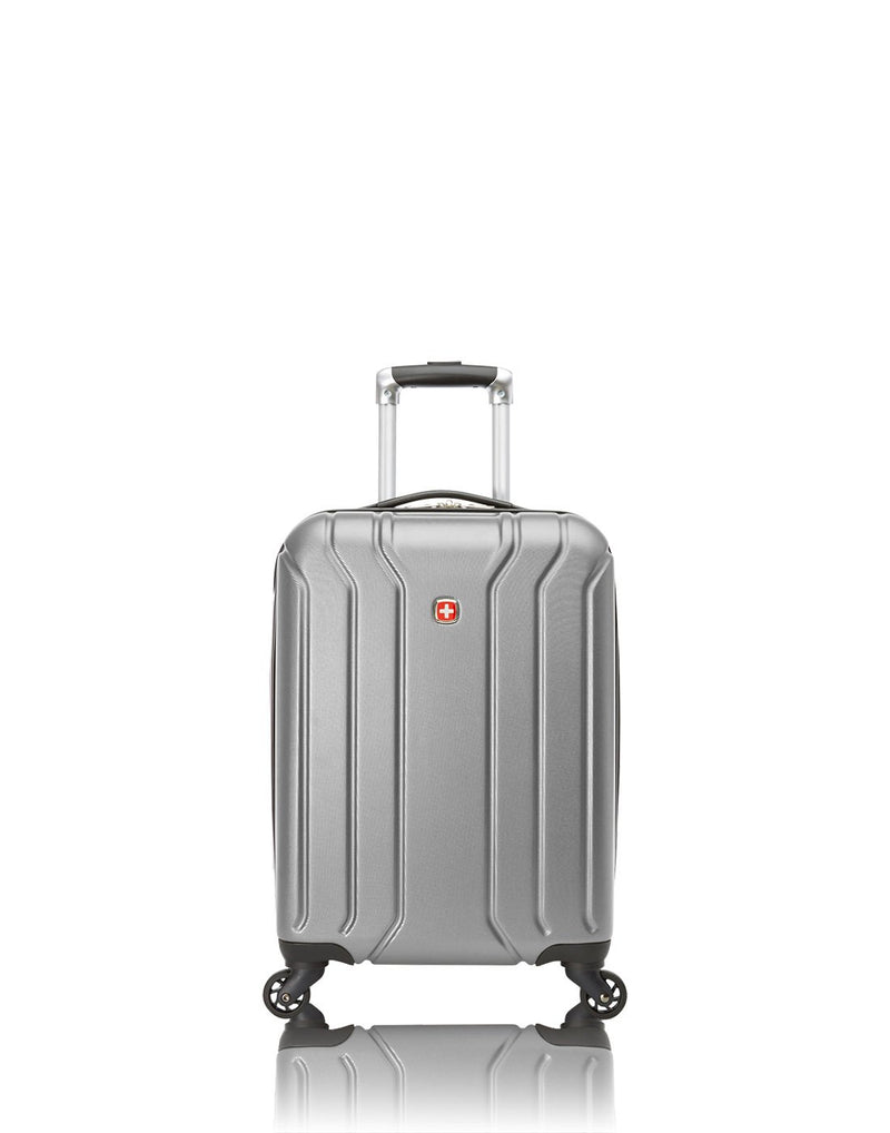 Swiss gear carry-on spinner with cup holder - silver colour luggage bag front view