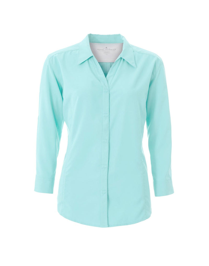 Women's expedition dry stretch 3/4 sleeve shirt aqua colour front view