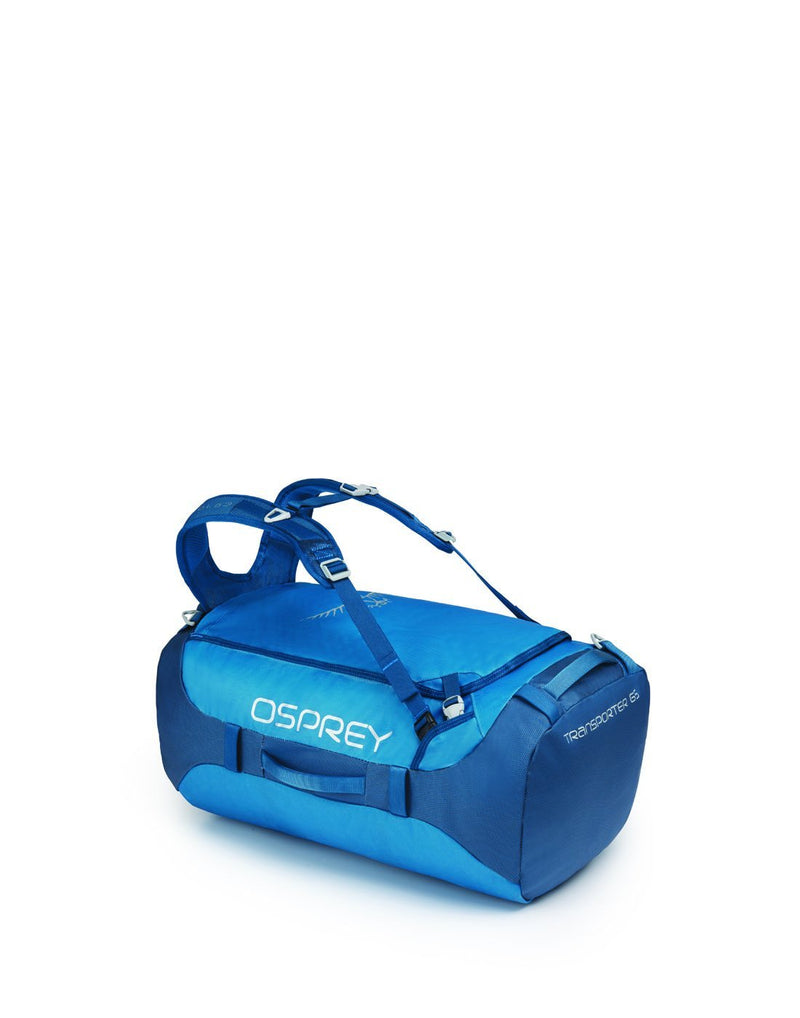 Osprey transporter 65 expedition kingfisher blue colour duffle bag left side view