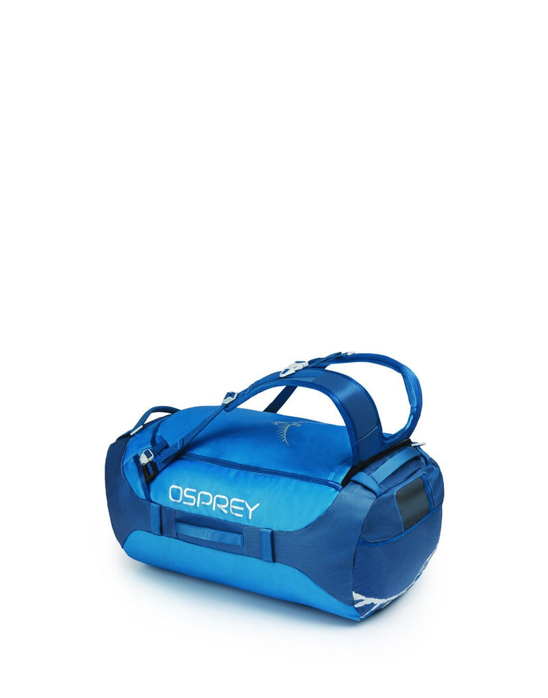 Osprey transporter 65 expedition kingfisher blue colour duffle bag right side view