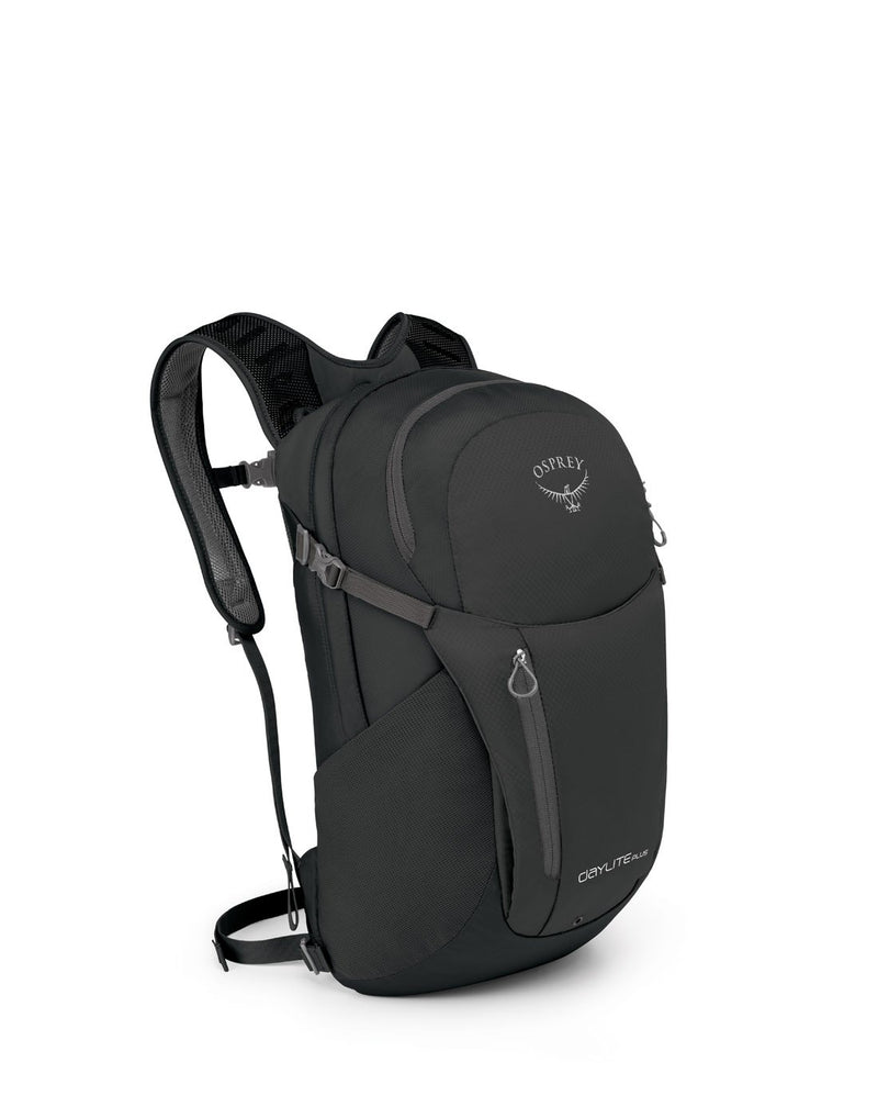 Osprey daylite plus black colour backpack front corner view