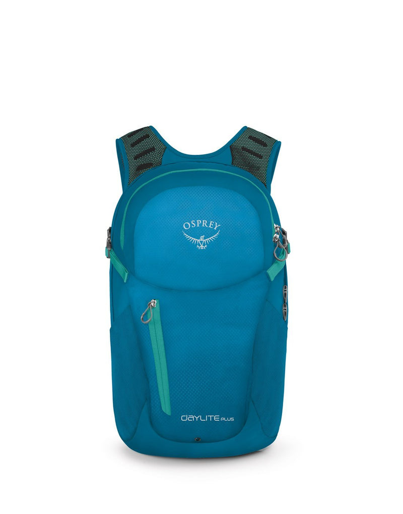 Osprey daylite plus sagebrush blue colour backpack front view