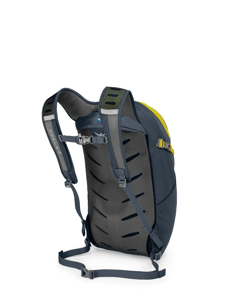 Osprey daylite plus stone grey colour backpack back corner view