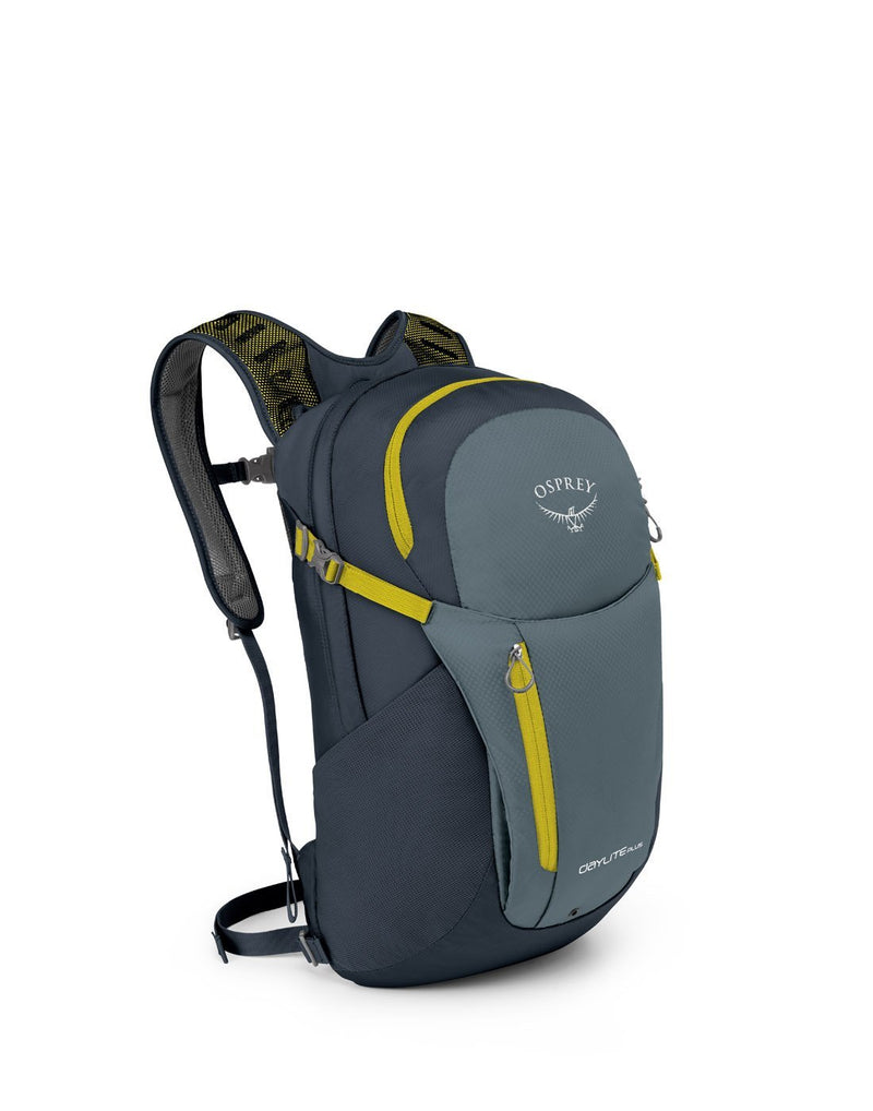 Osprey daylite plus stone grey colour backpack front corner view