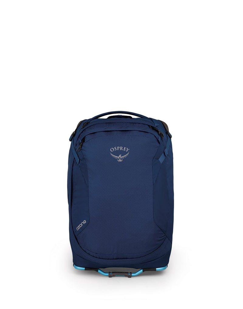"Osprey ozone 42L/21.5"" buoyant blue colour luggage bag front view"