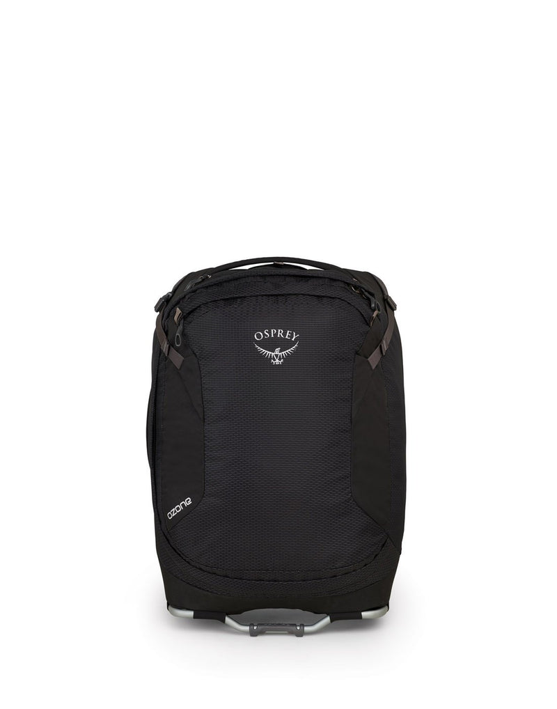 "Osprey ozone 42L/21.5"" black colour luggage bag front view"