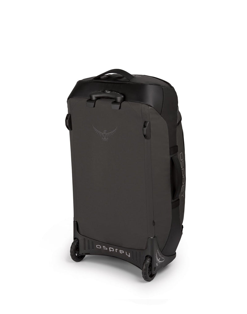 Osprey transporter wheeled 90 black colour duffel bag sideback view