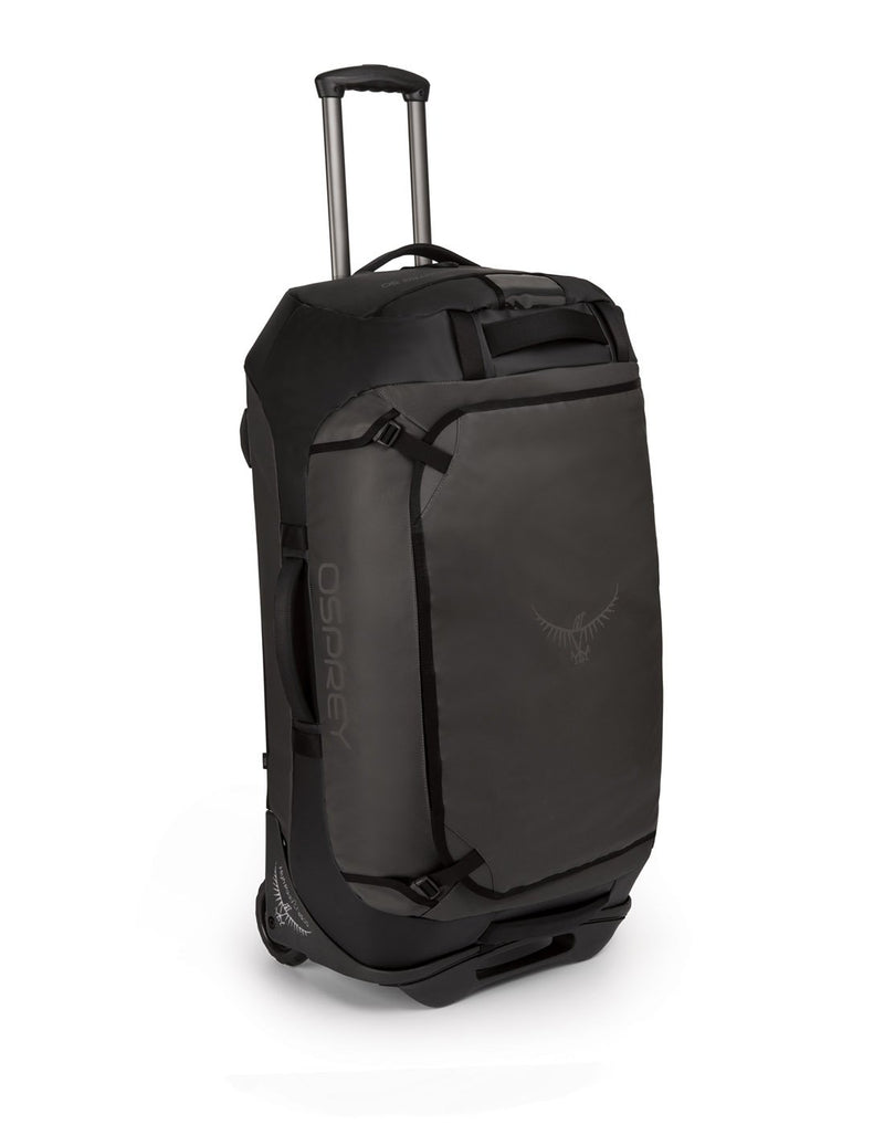 Osprey transporter wheeled 90 black colour duffel bag corner view