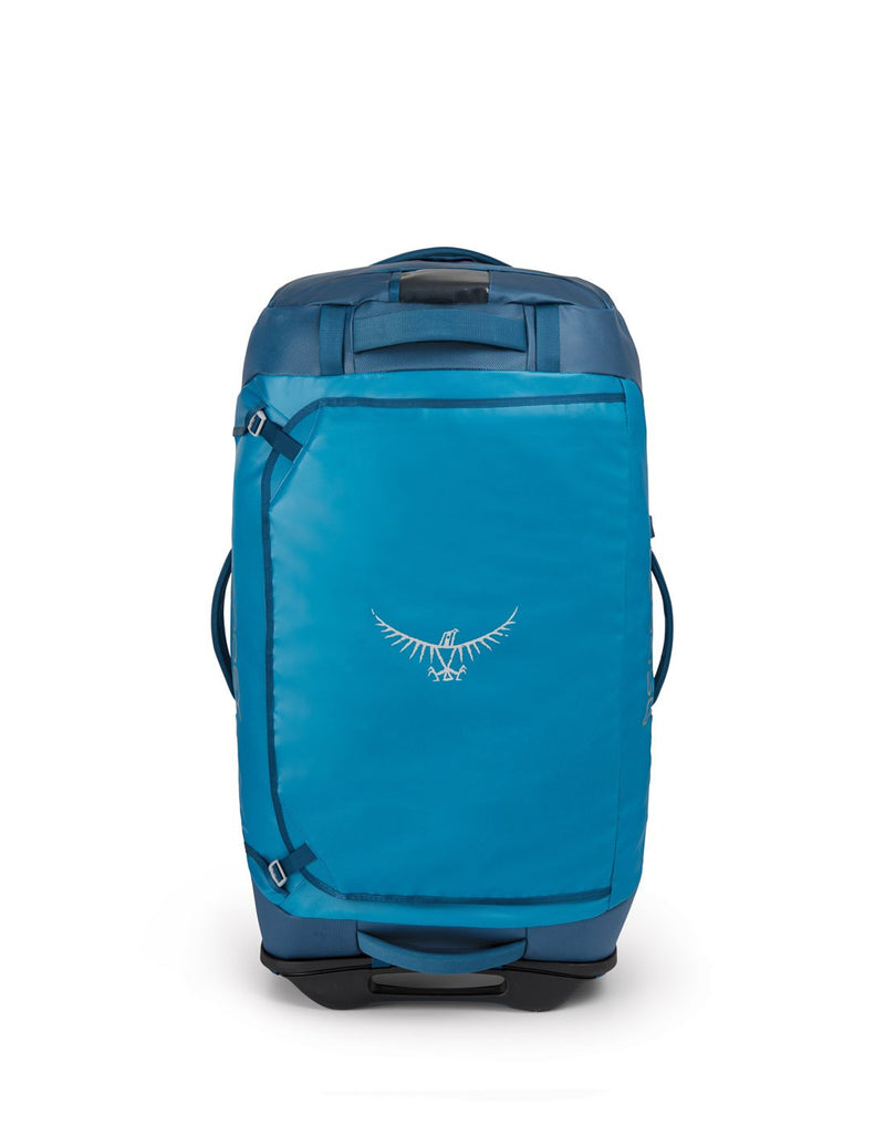Osprey transporter wheeled 90 kingfisher blue colour duffel bag front view
