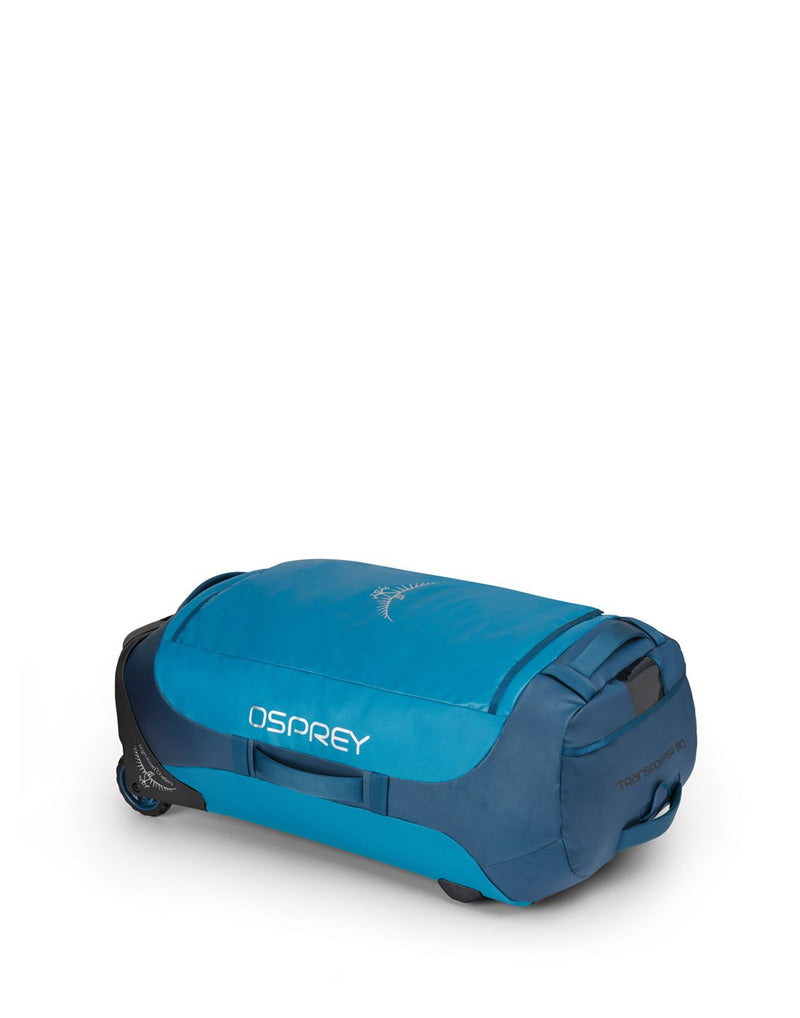 Osprey transporter wheeled 90 kingfisher blue colour duffel bag left side view