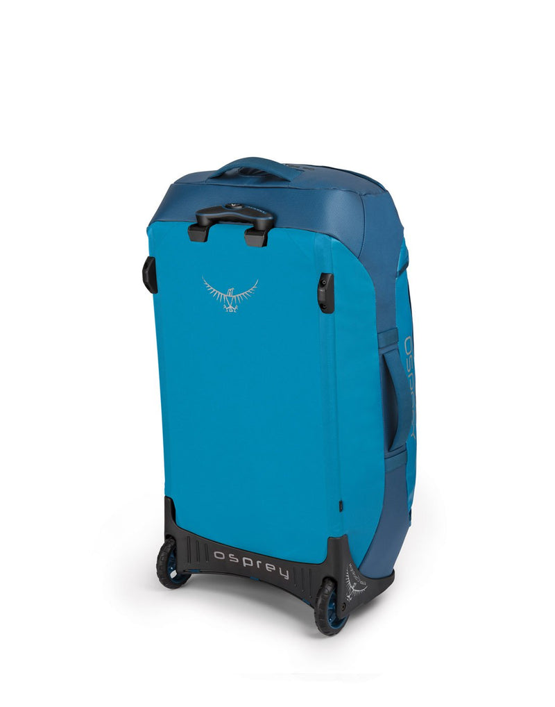 Osprey transporter wheeled 90 kingfisher blue colour duffel bag sideback view