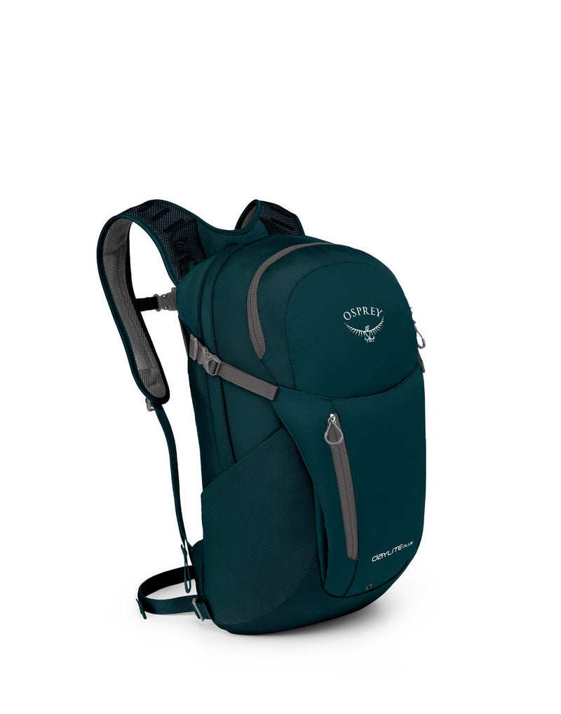 Osprey daylite plus petrol blue colour backpack front corner view