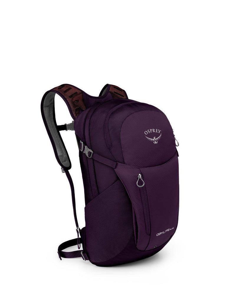Osprey daylite plus amulet purple colour backpack front corner view