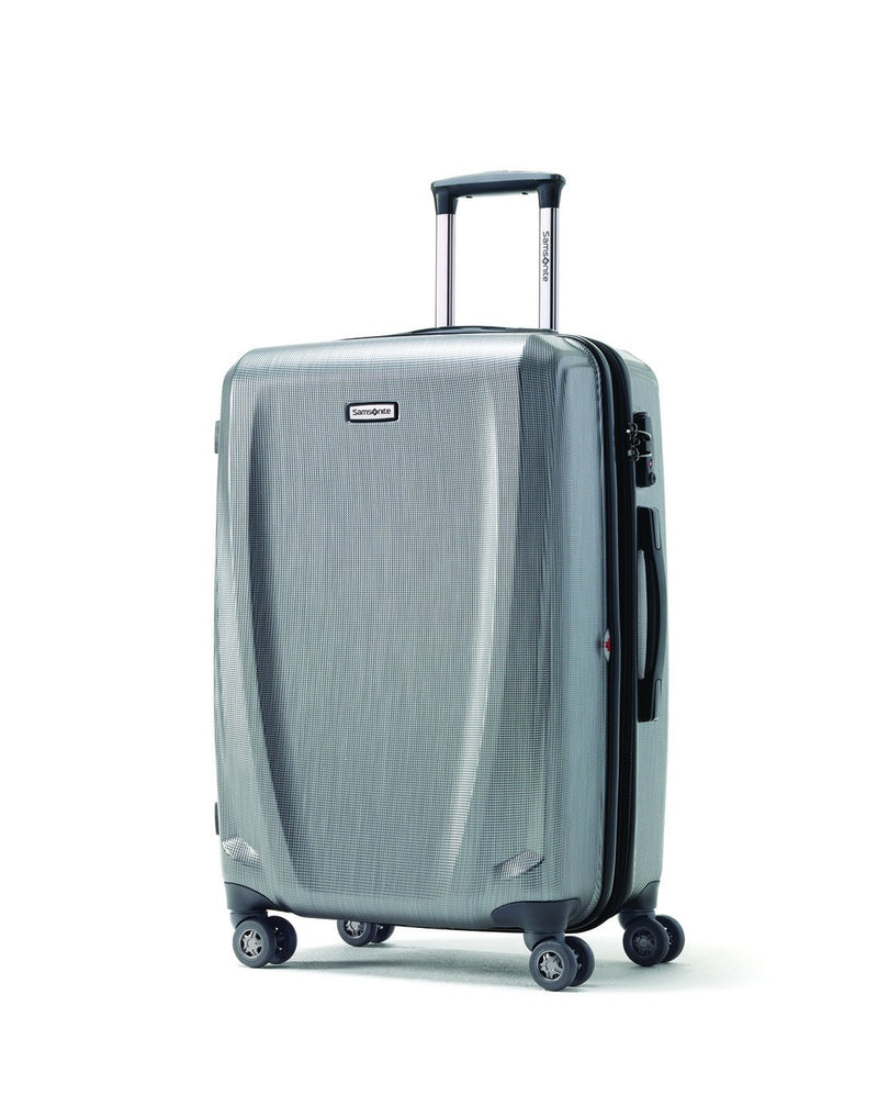 "Pursuit dlx 30.5"" silver colour expandable spinner luggage bag front view"