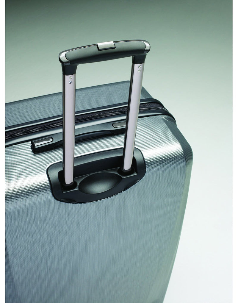 "Pursuit dlx 30.5"" silver colour expandable spinner luggage bag luggage handle top view"