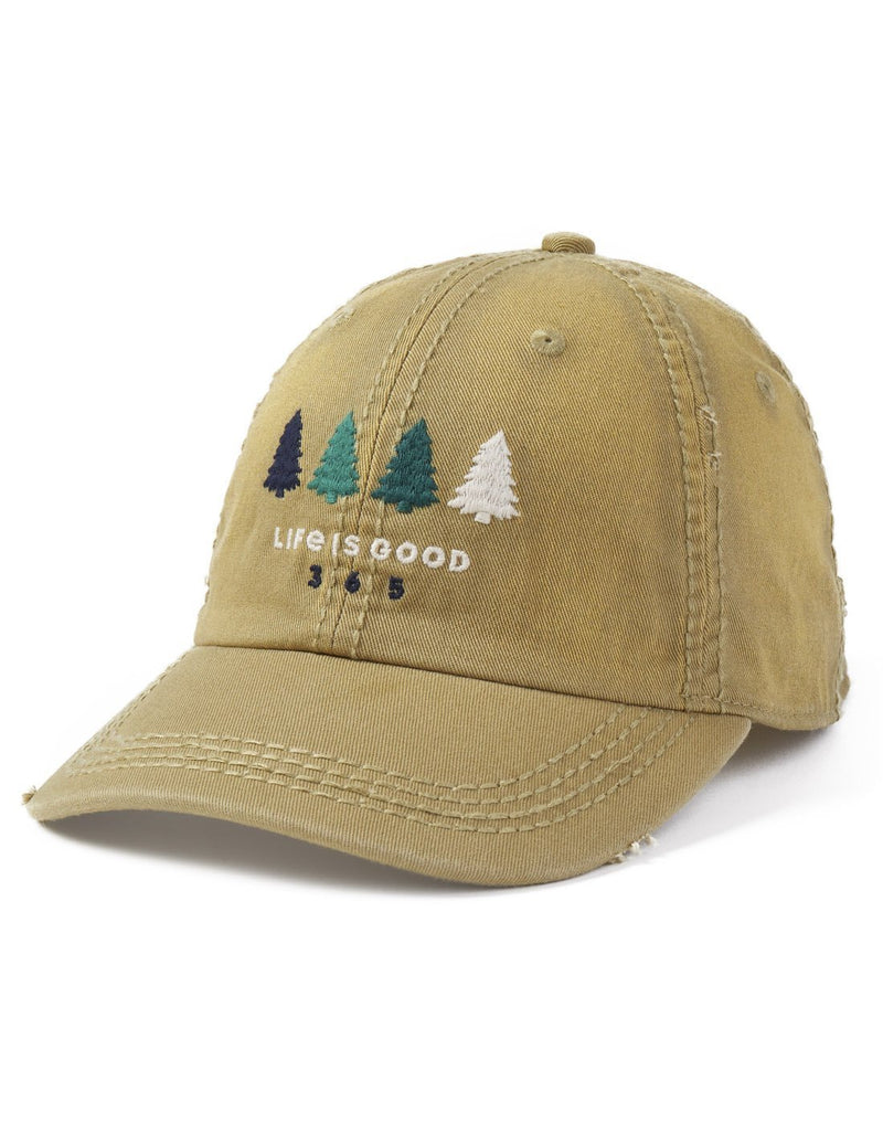 Life is good 365 trees sunwashed chill cap front view