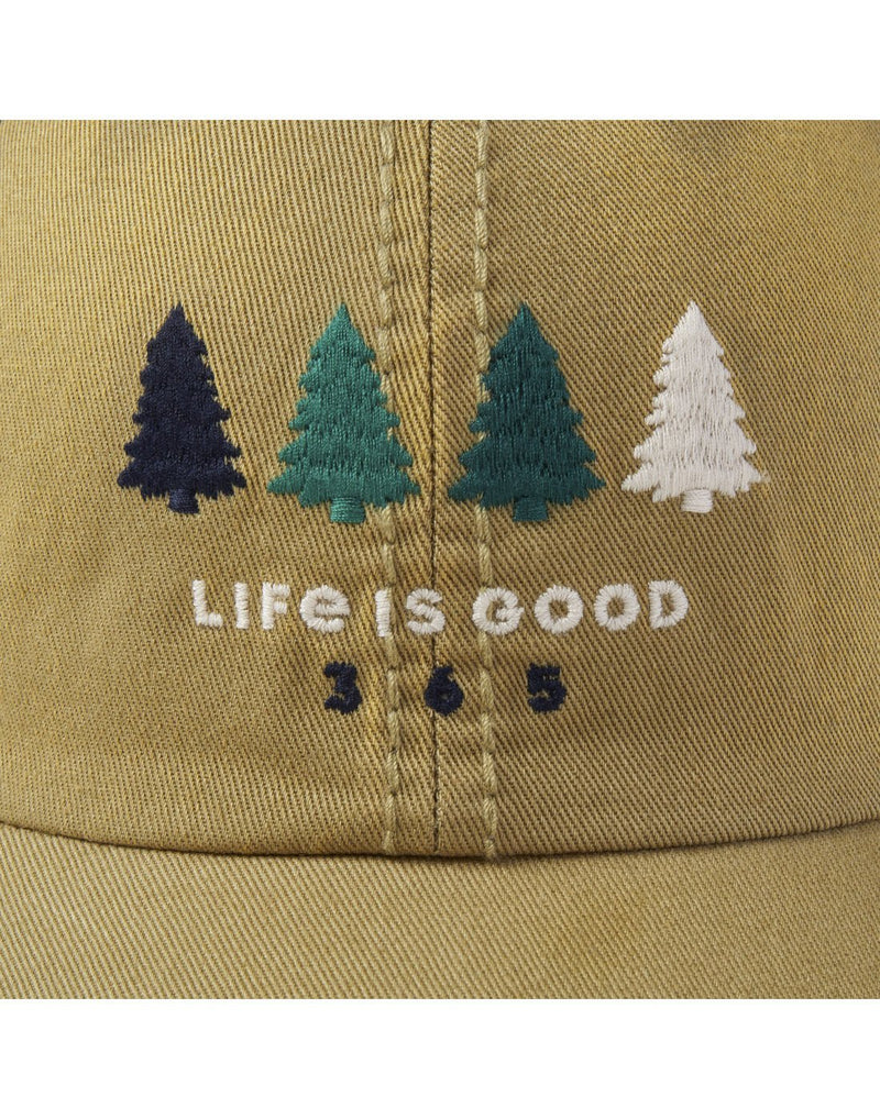 Life is good 365 trees sunwashed chill cap brand close-up view