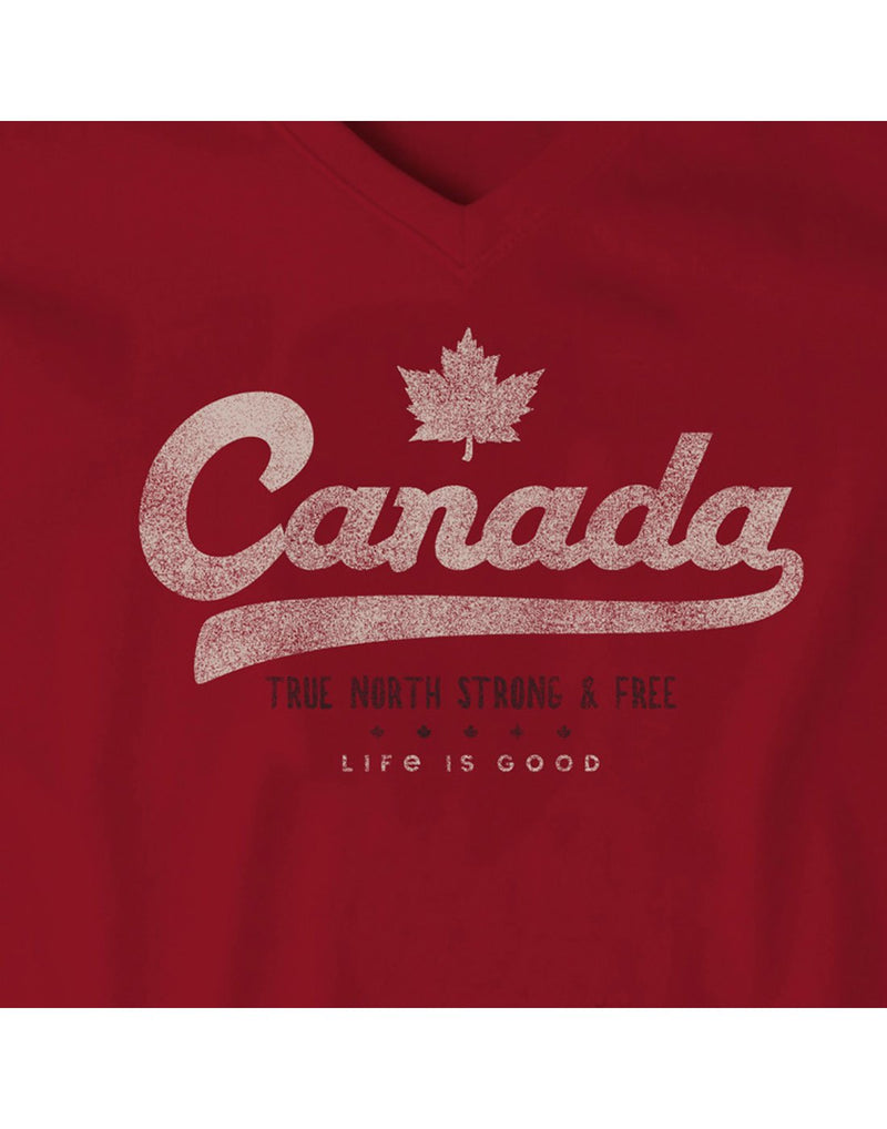 Life is good women's canada crusher red colour vee print close-up view